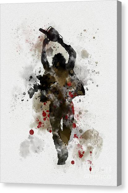 Chainsaw Canvas Print - Leatherface by Rebecca Jenkins