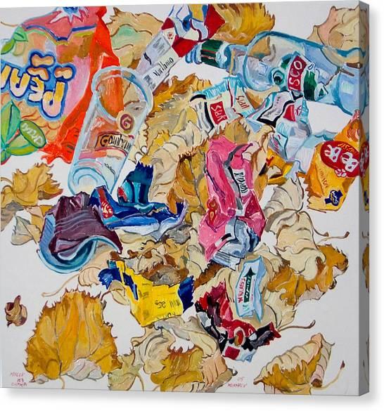 Leaves And Rubbish Canvas Print by Vitali Komarov