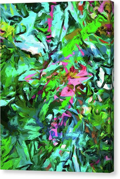 Leaves Buds Green Pink Canvas Print