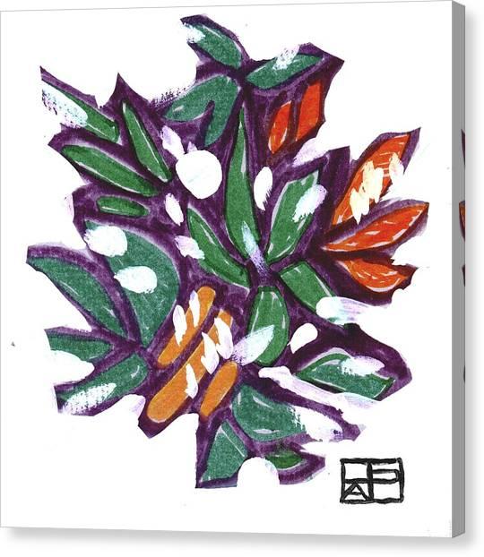 Leaves In Snow Canvas Print by Helen Pisarek