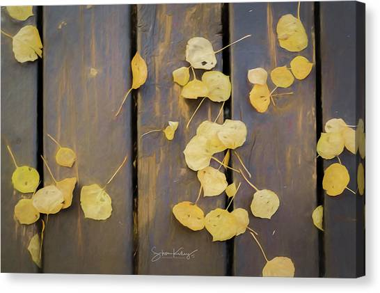 Leaves On Planks Canvas Print