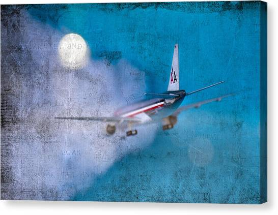 Leavin' On A Jet Plane Canvas Print by Rebecca Cozart