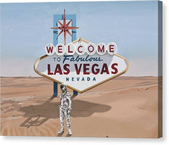 Canvas Print featuring the painting Leaving Las Vegas by Scott Listfield