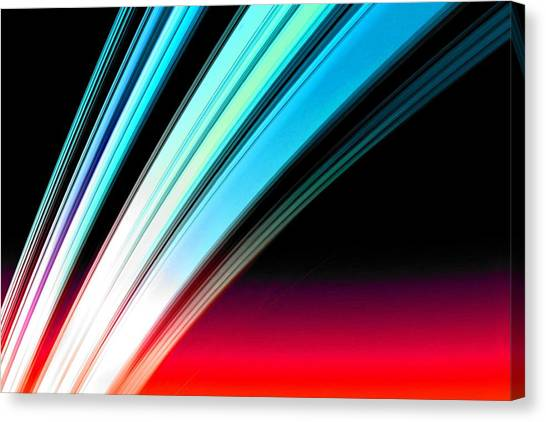 Leaving Saturn In Azure And Scarlet Canvas Print