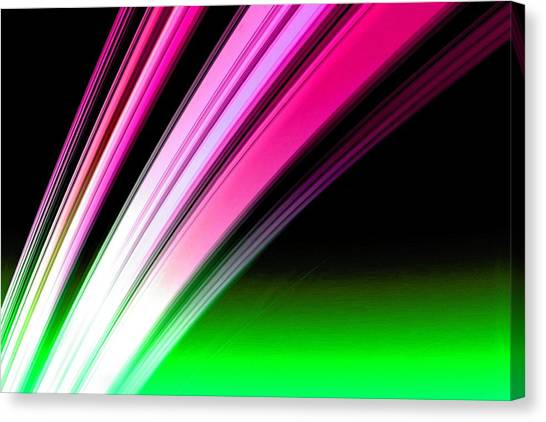 Leaving Saturn In Hot Pink And Green Canvas Print