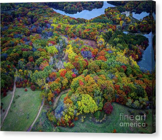 Lebanon Hills Park Eagan Mn Autumn II By Drone Canvas Print