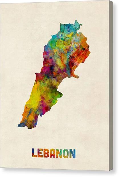 Urban Art Canvas Print - Lebanon Watercolor Map by Michael Tompsett