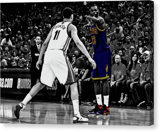 Kyrie Irving Canvas Print - Lebron Directing Traffic by Brian Reaves