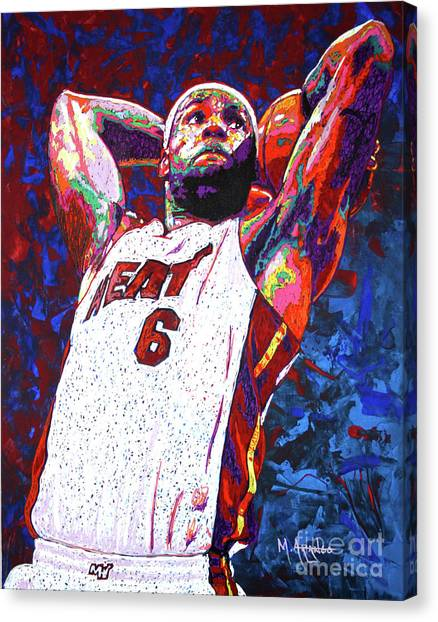 Lebron James Canvas Print - Lebron Dunk by Maria Arango
