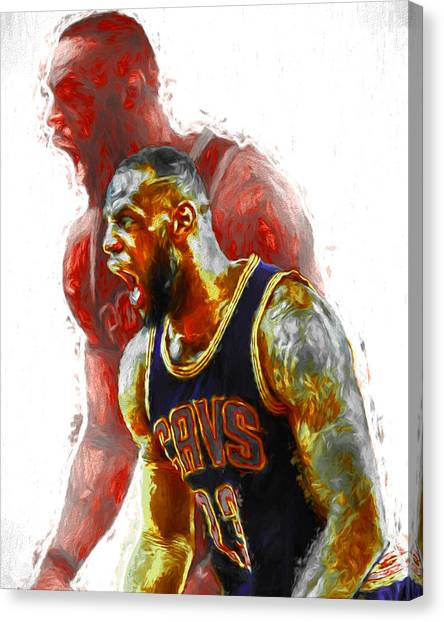 Lebron James 23 1 Cleveland Cavs Digital Painting Canvas Print