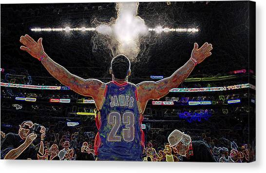 Lebron James Canvas Print - Lebron James Chalk Toss Basketball Art Landscape Painting by Andres Ramos