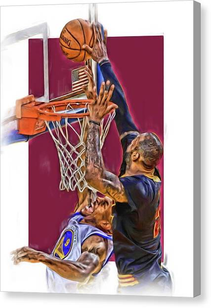 Iphone Case Canvas Print - Lebron James Cleveland Cavaliers Oil Art by Joe Hamilton