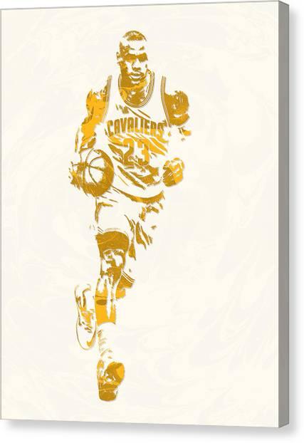 Lebron James Canvas Print - Lebron James Cleveland Cavaliers Pixel Art 11 by Joe Hamilton