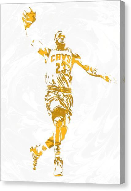 Lebron James Canvas Print - Lebron James Cleveland Cavaliers Pixel Art 12 by Joe Hamilton