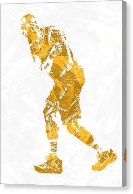 Lebron James Canvas Print - Lebron James Cleveland Cavaliers Pixel Art 13 by Joe Hamilton