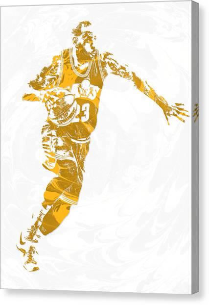 Lebron James Canvas Print - Lebron James Cleveland Cavaliers Pixel Art 14 by Joe Hamilton