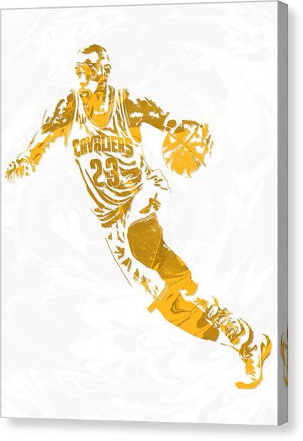 Lebron James Canvas Print - Lebron James Cleveland Cavaliers Pixel Art 15 by Joe Hamilton