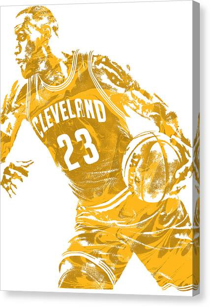 Lebron James Canvas Print - Lebron James Cleveland Cavaliers Pixel Art 20 by Joe Hamilton