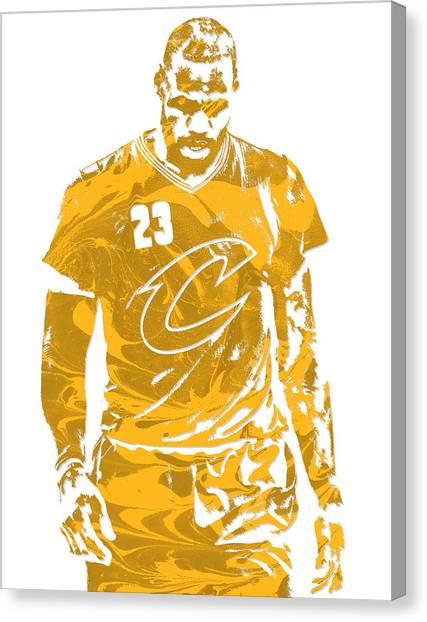 Lebron James Canvas Print - Lebron James Cleveland Cavaliers Pixel Art 21 by Joe Hamilton