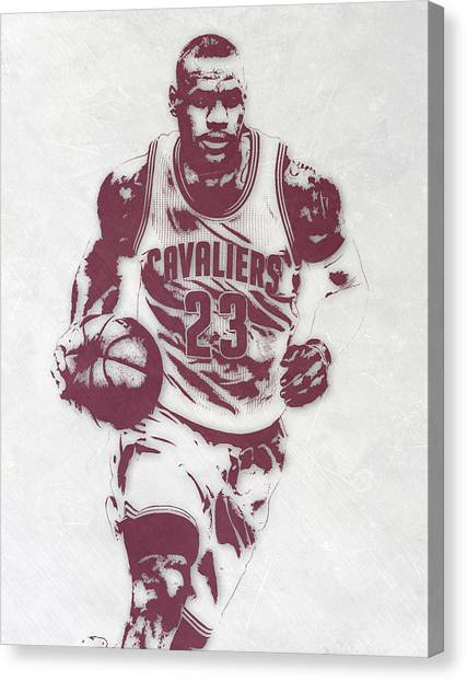 Lebron James Canvas Print - Lebron James Cleveland Cavaliers Pixel Art 4 by Joe Hamilton