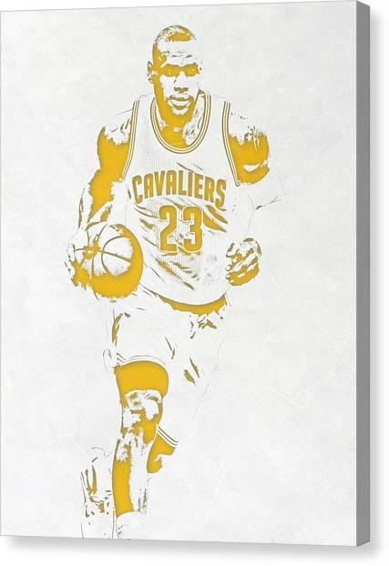 Lebron James Canvas Print - Lebron James Cleveland Cavaliers Pixel Art 5 by Joe Hamilton