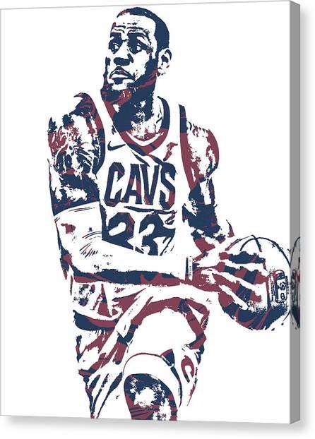 Lebron James Canvas Print - Lebron James Cleveland Cavaliers Pixel Art 50 by Joe Hamilton