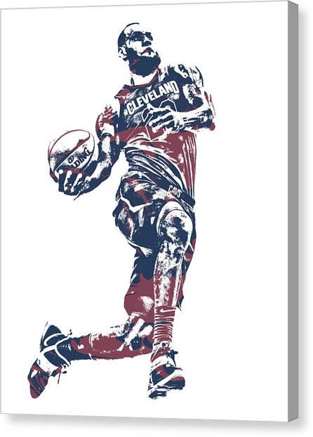 Lebron James Canvas Print - Lebron James Cleveland Cavaliers Pixel Art 52 by Joe Hamilton