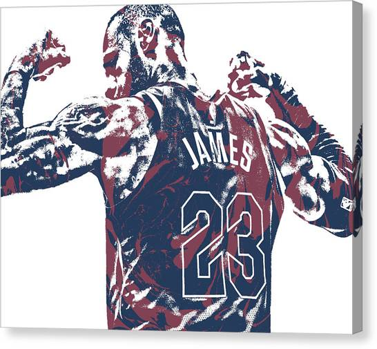 Lebron James Canvas Print - Lebron James Cleveland Cavaliers Pixel Art 53 by Joe Hamilton