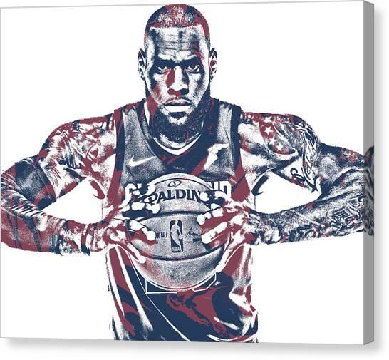 Lebron James Canvas Print - Lebron James Cleveland Cavaliers Pixel Art 54 by Joe Hamilton