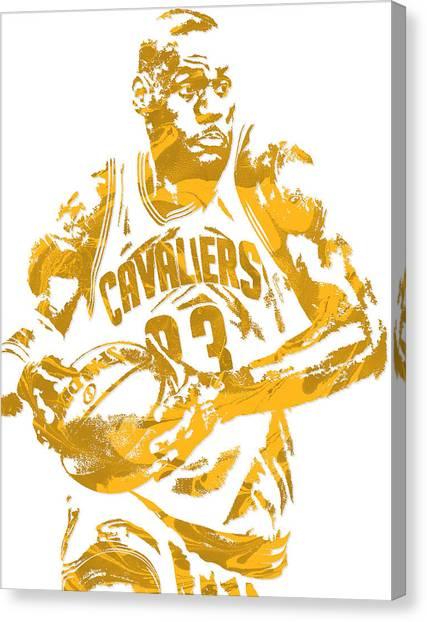 Lebron James Canvas Print - Lebron James Cleveland Cavaliers Pixel Art 6 by Joe Hamilton