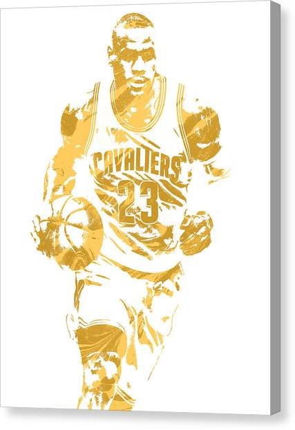 Lebron James Canvas Print - Lebron James Cleveland Cavaliers Pixel Art 7 by Joe Hamilton