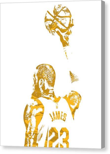 Lebron James Canvas Print - Lebron James Cleveland Cavaliers Pixel Art 71 by Joe Hamilton