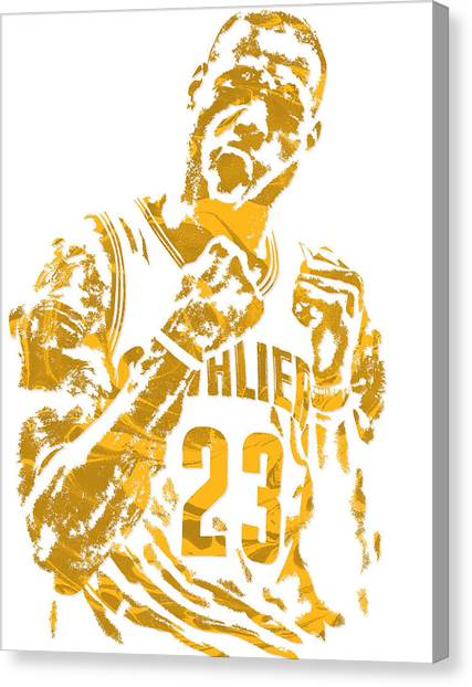 Lebron James Canvas Print - Lebron James Cleveland Cavaliers Pixel Art 9 by Joe Hamilton