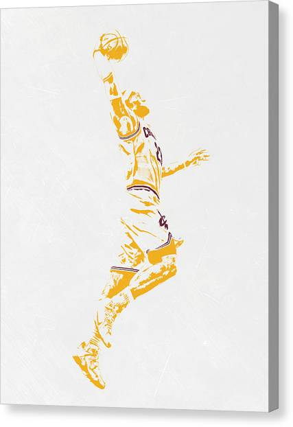 Lebron James Canvas Print - Lebron James Cleveland Cavaliers Pixel Art by Joe Hamilton