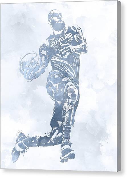 Lebron James Canvas Print - Lebron James Cleveland Cavaliers Water Color Pixel Art 11 by Joe Hamilton