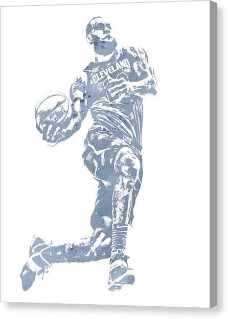 Lebron James Canvas Print - Lebron James Cleveland Cavaliers Water Color Pixel Art 20 by Joe Hamilton