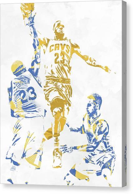 Stephen Curry Canvas Print - Lebron James Draymond Green Stephen Curry Pixel Art 1 by Joe Hamilton