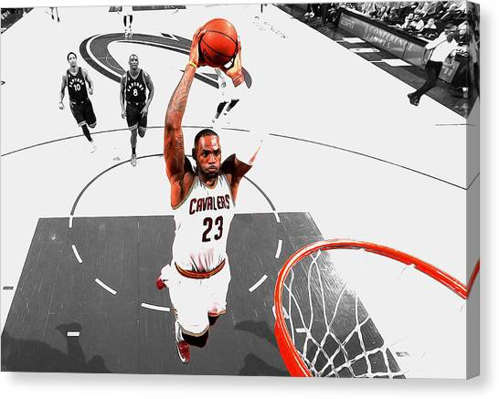 Kyrie Irving Canvas Print - Lebron James Flight Path by Brian Reaves