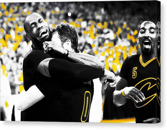 Kyrie Irving Canvas Print - Lebron James Putting In Work by Brian Reaves