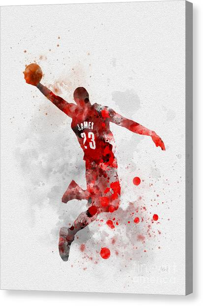 Cleveland Cavaliers Canvas Print - Lebron James by Rebecca Jenkins