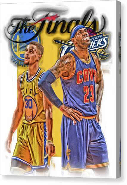 Stephen Curry Canvas Print - Lebron James Stephen Curry The Finals by Joe Hamilton