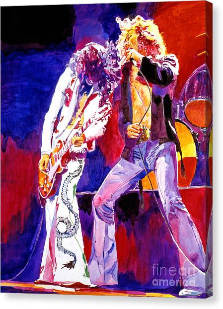 Led Zeppelin Canvas Print - Led Zeppelin - Page And  Plant by David Lloyd Glover