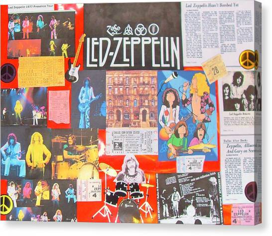 Jimmy Page Canvas Print - Led Zeppelin Color Collage by Donna Wilson