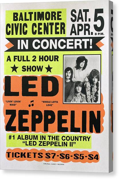 Robert Plant Canvas Print - Led Zeppelin Concert Poster 1970 by Daniel Hagerman