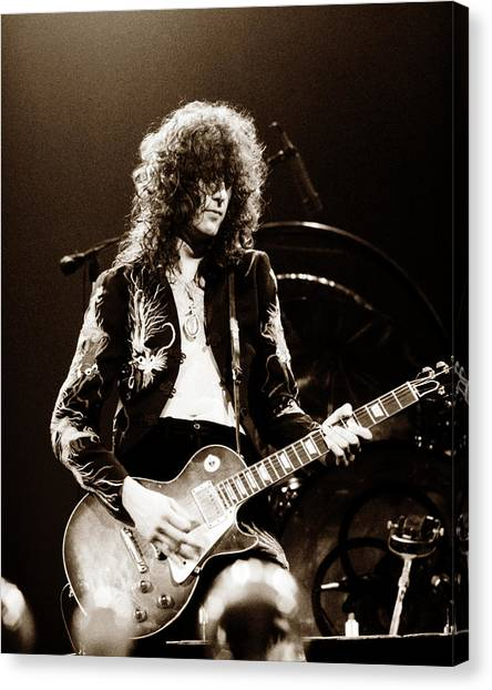Concerts Canvas Print - Led Zeppelin - Jimmy Page 1975 by Chris Walter