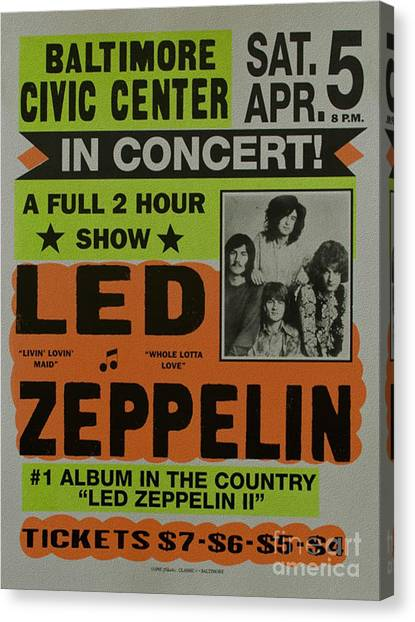 Led Zeppelin Live In Concert At The Baltimore Civic Center Poster Canvas Print