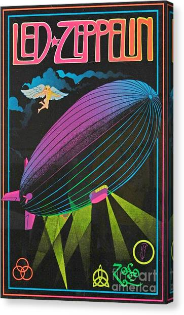 Led Zepplin Canvas Print - Led Zeppelin Sixties Blacklight Poster by Pd