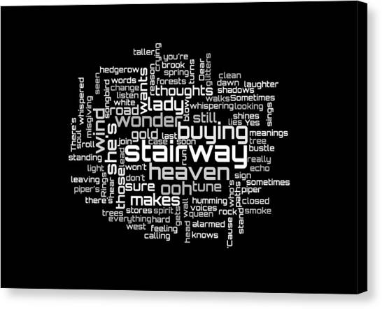 Led Zeppelin - Stairway To Heaven Lyrical Cloud Canvas Print