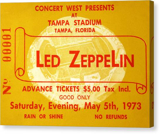 Music Canvas Print - Led Zeppelin Ticket by David Lee Thompson