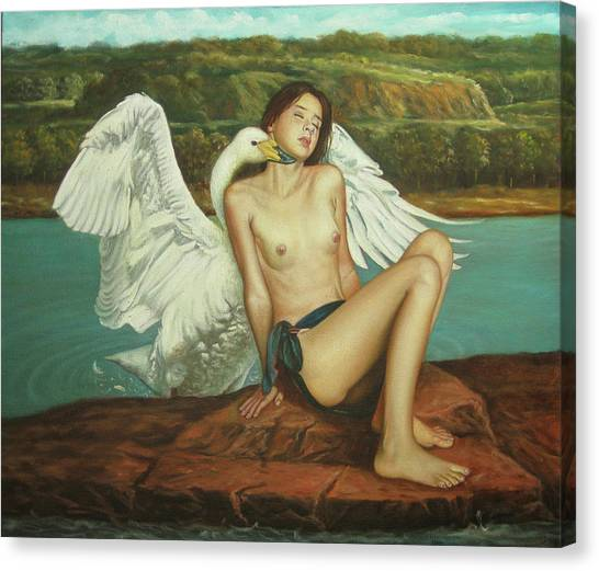 Leda And The Swan - Passionate Canvas Print by Giovanni Rapiti